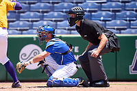 Umpire Matt McKendry and Memphis Tigers catcher Hunter Goodman (35) during a game against the East Carolina Pirates on May 25, 2021 at BayCare Ballpark in Clearwater, Florida.  (Mike Janes/Four Seam Images)