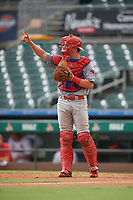 Clearwater Threshers catcher Nick Matera (7) during a Florida State League game against the Palm Beach Cardinals on August 11, 2019 at Roger Dean Chevrolet Stadium in Jupiter, Florida.  Palm Beach defeated Clearwater 4-1.  (Mike Janes/Four Seam Images)