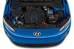 Car Stock 2021 Hyundai Kona-EV Sky 5 Door SUV Engine  high angle detail view