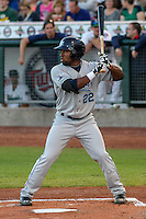 West Michigan Whitecaps outfielder Christin Stewart (22) at bat during game five of the Midwest League Championship Series against the Cedar Rapids Kernels on September 21st, 2015 at Perfect Game Field at Veterans Memorial Stadium in Cedar Rapids, Iowa.  West Michigan defeated Cedar Rapids 3-2 to win the Midwest League Championship. (Brad Krause/Four Seam Images)