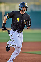 Anthony Bemboom (9) of the Salt Lake Bees circles the bases against the Tacoma Rainiers at Smith's Ballpark on May 13, 2021 in Salt Lake City, Utah. The Rainiers defeated the Bees 15-5. (Stephen Smith/Four Seam Images)