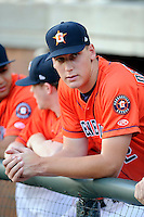 Pitcher Brock Dykxhoorn (62) of the Greeneville Astros in a game against the Bristol Pirates on Friday, July 25, 2014, at Pioneer Park in Greeneville, Tennessee. Greeneville won, 9-4. (Tom Priddy/Four Seam Images)