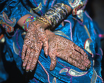 Woman's Hands Painted with Henna, Eid-Ul-Fitr Celebration, Lahore, Pakistan