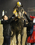November 28, 2015 Airoforce (Julien Leparoux) wins the 89th running of the G2 Kentucky Jockey Club Stakes, one and one sixteenth miles for two year olds, a Kentucky Derby points race. Owner John C. Oxley, trainer Mark E. Casse.  By Colonel John x Chocolate Pop (Cuvee.) ©Mary M. Meek/ESW/CSM
