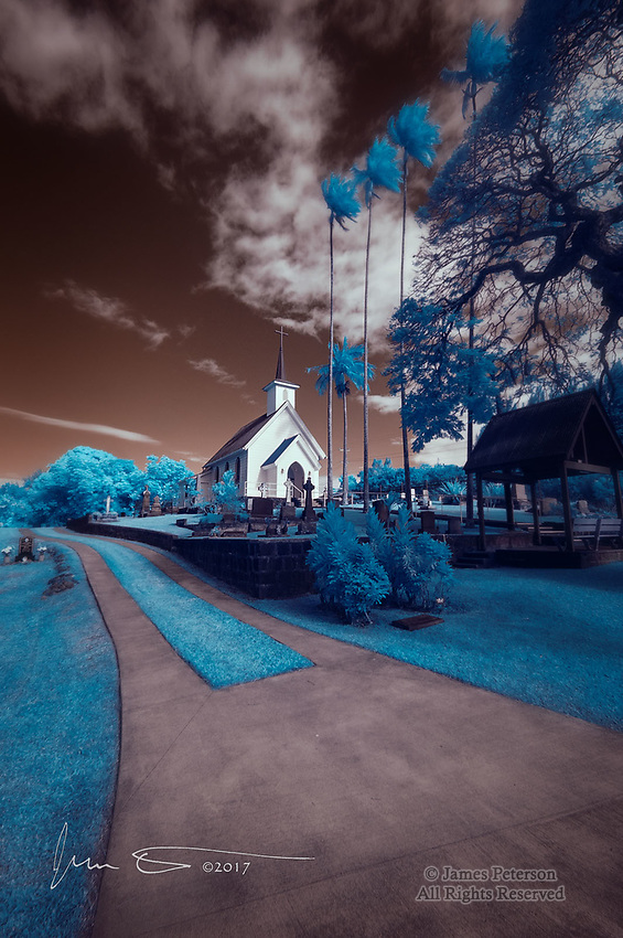 Saint Augustine's Episcopal Church, Kapaau, Hawaii (Infrared) ©2017 James D Peterson.  Hawaii's rich, multicultural history plus its multitude of scattered small towns and villages means that charming churches and other public facilities can be found everywhere.  This one, which is surrounded by a cemetery, is on the northwest coast of the big island of Hawai'i.