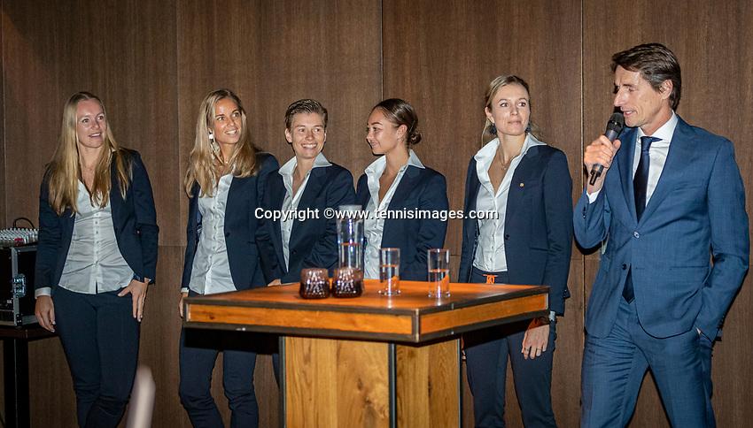 The Hague, The Netherlands, Februari 5, 2020,    Penthouse, FedCup  Netherlands -  Balarus, Official Dinner,  Dutch team<br /> Photo: Tennisimages/Henk Koster