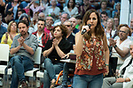 Pablo Iglesias, secretary general of Podemos;  Ione Belarra, deputy spokesperson for United We can; Gloria Elizo, secretary in Podemos of Politices against corruption; and Isa Serra, spokesperson for United Podemos in the Madrid Assembly; in a meeting of Podemos with people in Madrid where they exchange points of view, listen to concerns and draw shared horizons.<br /> October 5, 2019. <br /> (ALTERPHOTOS/David Jar)