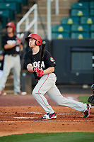 Chattanooga Lookouts center fielder Tanner English (41) follows through on a swing during a game against the Jackson Generals on April 27, 2017 at The Ballpark at Jackson in Jackson, Tennessee.  Chattanooga defeated Jackson 5-4.  (Mike Janes/Four Seam Images)