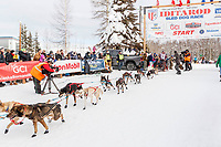 Blair Braverman leaves the start line during the restart of the 2019 Iditarod race in Willow, Alaska on Sunday March 3, 2019.<br /> <br /> Photo by Jeff Schultz/  (C) 2019  ALL RIGHTS RESERVED