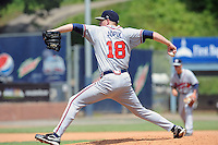 Rome Braves pitcher Dan Jurik  #18 delivers a pitch during a game against the Asheville Tourists at McCormick Field on June 26, 2011 in Asheville, North Carolina.  The Tourists won the game 4.  (Tony Farlow/Four Seam Images)