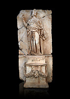 Roman Sebasteion relief sculpture of Krete Aphrodisias Museum, Aphrodisias, Turkey.   Against a black background.<br /> <br /> The classical hairstyle, dress and pose characterises the figure of civilised and free,