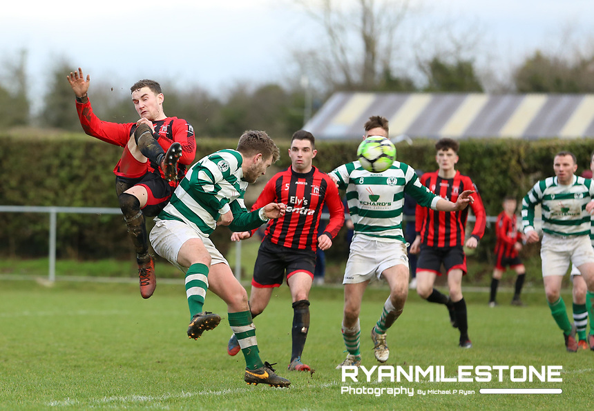 Peake Villa's Stephen Carroll scores an equalising goal  during the Munster Junior Cup 4th Round at Tower Grounds, Thurles, Co Tipperary on Sunday 28th January 2018, Photo By: Michael P Ryan