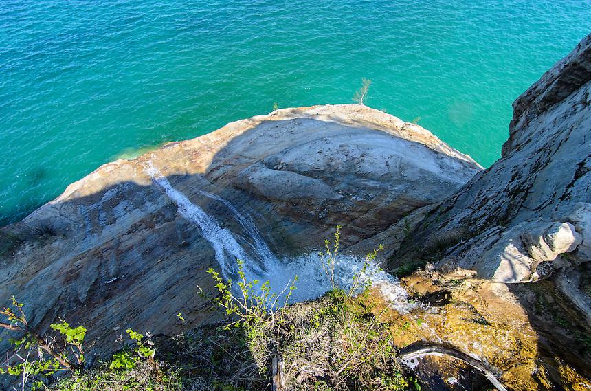 The beautiful view atop Bridalveil Falls along Pictured Rocks National Lakeshore -- Michigan's tallest waterfall. Munising, MI