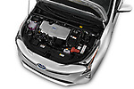 Car stock 2016 Toyota Prius Three Touring 5 Door Hatchback engine high angle detail view