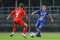 Kenzo Vrithof (9) of Femina White Star Woluwe and Shari Van Belle (8) of AA Gent Ladies  pictured during a female soccer game between FC Femina White Star Woluwe and AA Gent Ladies on the third matchday in the 2021 - 2022 season of Belgian Scooore Womens Super League , friday 3 th of September 2021  in Woluwe , Belgium . PHOTO SPORTPIX   SEVIL OKTEM