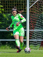 Goalkeeper Louise Van Den Bergh (1) of OHL gives a pass during a female soccer game between Standard Femina de Liege and Oud Heverlee Leuven on the 10th and last matchday in play off 1 of the 2020 - 2021 season of Belgian Scooore Womens Super League , saturday 29 th of May 2021  in Angleur , Belgium . PHOTO SPORTPIX.BE | SPP | SEVIL OKTEM