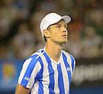 Tomas Berdych (CZE) loses to Stanislaus Wawrinka (SUI) 6-3, 6-7, 7-6, 7-6 to move into the finals at the Australian Open in Melbourne, Australia on January 23, 2014.