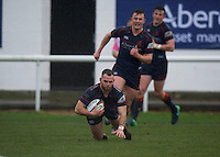 Edward Hoadley of London Scottish Football Club scores a try during the Greene King IPA Championship match between London Scottish Football Club and Rotherham Titans at Richmond Athletic Ground, Richmond, United Kingdom on 1 January 2017. Photo by Alan  Stanford.