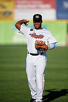 Tri-City ValleyCats Luis Encarnacion (22) warms up before a game against the Vermont Lake Monsters on June 16, 2018 at Joseph L. Bruno Stadium in Troy, New York.  Vermont defeated Tri-City 6-2.  (Mike Janes/Four Seam Images)