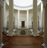 The rotunda at Wardour Castle features eight columns, ten pairs of mahogany doors and a cantilevered staircase
