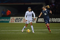 Lorient, France. - Sunday, February 8, 2015:  Christen Press (23) of the USWNT and Camille Abily (10) of France. France defeated the USWNT 2-0 during an international friendly at the Stade du Moustoir.