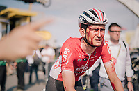 A blooded Tiesj Benoot (BEL/Lotto-Soudal) crosses the finish line last and is immediatly taken to the ambulance & hospital for a proper check-up<br /> <br /> Stage 4: La Baule > Sarzeau (192km)<br /> <br /> 105th Tour de France 2018<br /> ©kramon