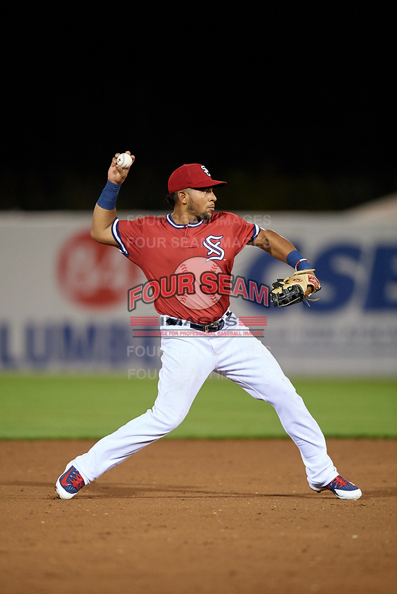 Syracuse Chiefs shortstop Adrian Sanchez (7) throws to first base during a game against the Buffalo Bisons on September 2, 2018 at NBT Bank Stadium in Syracuse, New York.  Syracuse defeated Buffalo 4-3.  (Mike Janes/Four Seam Images)
