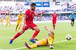 Massimo Luongo of Australia (R) gets tripped as he fights for the ball with Tareq Khattab of Jordan (L) during the AFC Asian Cup UAE 2019 Group B match between Australia (AUS) and Jordan (JOR) at Hazza Bin Zayed Stadium on 06 January 2019 in Al Ain, United Arab Emirates. Photo by Marcio Rodrigo Machado / Power Sport Images