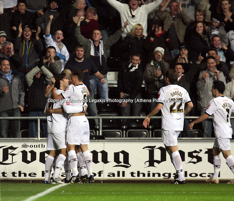 Pictured:(L-R) Jordi Gomez, Darren Pratley, Ferrie Bodde, Angel Rangel and Leon Britton of Swansea City<br /> Re: Coca Cola Championship, Swansea City Football Club v Birmingham City at the Liberty Stadium, Swansea, south Wales Friday 21 November 2008.<br /> Picture by D Legakis Photography (Athena Picture Agency), Swansea, 07815441513