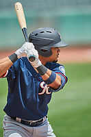Joseph Rosa (3) of the Tacoma Rainiers at bat against the Salt Lake Bees at Smith's Ballpark on May 16, 2021 in Salt Lake City, Utah. The Bees defeated the Rainiers 8-7. (Stephen Smith/Four Seam Images)
