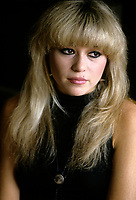 """Montreal (Qc) CANADA - File Photo - Circa 1986- EXCLUSIVE PHOTO -<br /> Elizabeth (E.G.) Daily pose during an interview in her Montreal hotel room.<br /> <br /> She was a popular singer in the eighties ;<br /> her single """"Say It, Say It"""". claimed the #1 spot on the Hot Dance Music/Club Play chart.<br /> <br /> PHOTO : Stephane Fournier - Agence Quebec Presse"""