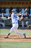 North Carolina Tar Heels shortstop Ike Freeman (8) swings at a pitch during a game against the Pittsburgh Panthers at Boshamer Stadium on March 17, 2018 in Chapel Hill, North Carolina. The Tar Heels defeated the Panthers 4-0. (Tony Farlow/Four Seam Images)