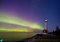Aurora over Lake Superior at Crisp Point Lighthouse, facing east