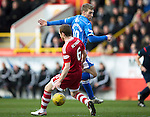 Aberdeen v St Johnstone…27.02.16   SPFL   Pittodrie, Aberdeen<br />David Wotherspoon is tackled by Mark Reynolds<br />Picture by Graeme Hart.<br />Copyright Perthshire Picture Agency<br />Tel: 01738 623350  Mobile: 07990 594431