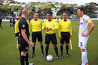 The coin toss is taken before the Oceania Football Championship final (second leg) football match between Team Wellington and Auckland City FC at David Farrington Park in Wellington, New Zealand on Sunday, 7 May 2017. Photo: Dave Lintott / lintottphoto.co.nz