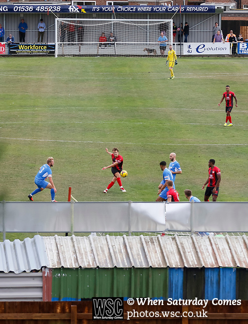 A shot flies over the Leiston goal. Kettering Town 1 Leiston 2, Evo Stick Southern League Premier Central, Latimer Park. Kettering Town are a famous name in non-league football. After financial problems, relegations, and relocation, the club are once again upwardly mobile. Despite losing to Leiston, Kettering finished the season as Champions and were promoted to the National League North.