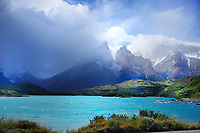 CHILE - NP Torres del Paine<br /> Dark storm clouds over Lago Pehoe and the Torres del Paine Massif