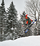 Aerialists in the snowboard park at Burke Mountain, Vermont