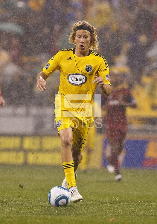 24 APRIL 2010:  Steven Lenhart of the Columbus Crew (32) during the Real Salt Lake at Columbus Crew MLS soccer game in Columbus, Ohio. Columbus Crew defeated RSL 1-0 on April 24, 2010.