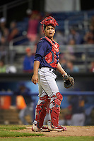 State College Spikes catcher Chris Rivera (32) during a game against the Batavia Muckdogs on June 24, 2016 at Dwyer Stadium in Batavia, New York.  State College defeated Batavia 10-3.  (Mike Janes/Four Seam Images)