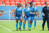Houston, TX - Saturday May 13, Sky Blue FC players  McKenzie Meehan, Kayla Mills, Maya Hayes, and Madison Tiernan enter the field during a regular season National Women's Soccer League (NWSL) match between the Houston Dash and Sky Blue FC at BBVA Compass Stadium. Sky Blue won the game 3-1.