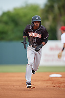Jupiter Hammerheads Jose Devers (1) running the bases during a Florida State League game against the Florida Fire Frogs on April 8, 2019 at Osceola County Stadium in Kissimmee, Florida.  Florida defeated Jupiter 7-6 in ten innings.  (Mike Janes/Four Seam Images)