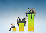 Illustrative image of various businesspeople on top of bar graph representing profit and loss