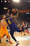 Turkish Airlines Euroleague 2018/2019. <br /> Regular Season-Round 30.<br /> FC Barcelona Lassa vs Khimki Moscow Region: 83-74. <br /> Andrey Zubkov vs Chris Singleton.