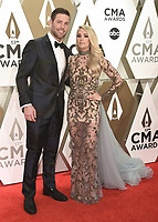 NASHVILLE, TN - NOVEMBER 13:  Mike Fisher and Carrie Underwood at the 53rd Annual CMA Awards at the Bridgestone Arena on November 13, 2019 in Nashville, Tennessee. (Photo by Scott Kirkland/PictureGroup)