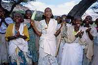 Eritrea. Southern Debud Zone. Tseda. Small village in the country. A group of aged and young women, dressed with white loinclothes wrapped around their bodies, sing, clap their hands and dance under a group of trees. An old woman holds a corn on the cob in her right hand and an ax in her left hand. © 2002 Didier Ruef