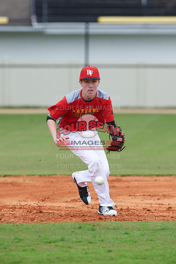 Steven Trone (7) of Summit, New Jersey during the Baseball Factory All-America Pre-Season Rookie Tournament, powered by Under Armour, on January 13, 2018 at Lake Myrtle Sports Complex in Auburndale, Florida.  (Michael Johnson/Four Seam Images)