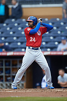 Dalton Pompey (24) of the Buffalo Bison at bat against the Durham Bulls at Durham Bulls Athletic Park on April 25, 2018 in Allentown, Pennsylvania.  The Bison defeated the Bulls 5-2.  (Brian Westerholt/Four Seam Images)