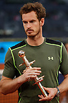Andy Murray of Great Britain holds his trophy after winning the Madrid Open Tennis tournament in Madrid, Spain. May 10, 2015. (ALTERPHOTOS/Victor Blanco)