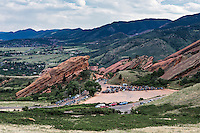 Red Rocks Amphitheatre filling up for an evening concert,  Jefferson County, Colorado, USA